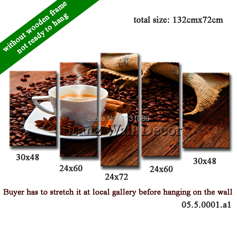 Without wooden frame 5pieces canvas painting oil coffee beans desk home decoration art wall pictures living room - Lanz Wall Decor store