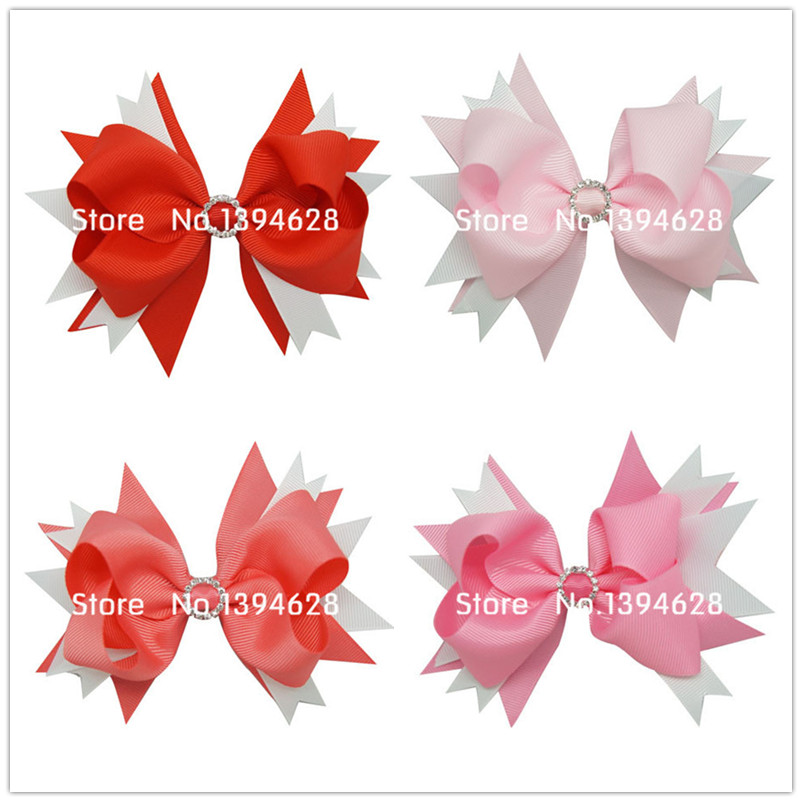 USD1.69/PC 5Inches Big Stacked Boutique Bows With 6cm Hair Clip Hairpin 8 Colors Solid Grosgrain Ribbon Bows Hair Accessories 5 inch big hair bow girls dot butterfly ribbon rainbowhair bows with clip boutique hairclip hairpin headwear hair accessories
