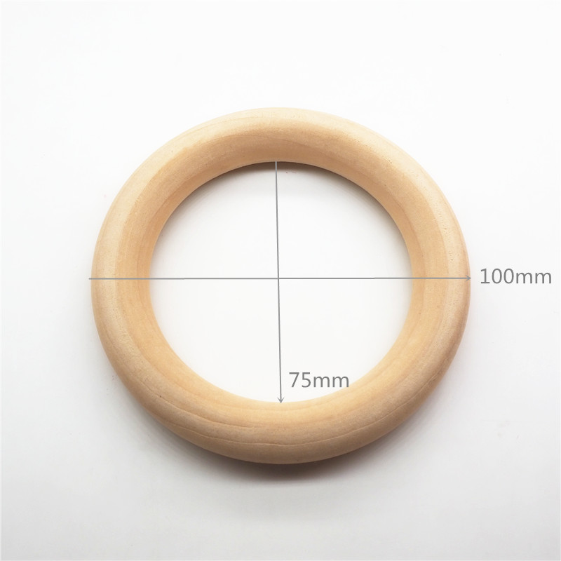 "Chenkai 10pcs 10cm 4"" Nature Wood Teether Ring DIY Wooden infant Teething Ring baby pacifier chewing jewelry Toy 100mm 4 inch"