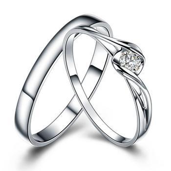 18K Gold Luxury Lover's Couple Diamond Wedding Bands 1
