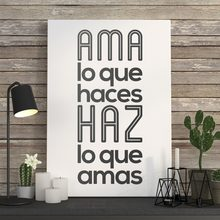 Pegatinas Muraux Ama Lo Que hace Haz Lo Que Amas extraíble decoración atística de pared cocina o cafetería Pared de tienda calcomanía decoración del hogar Póster