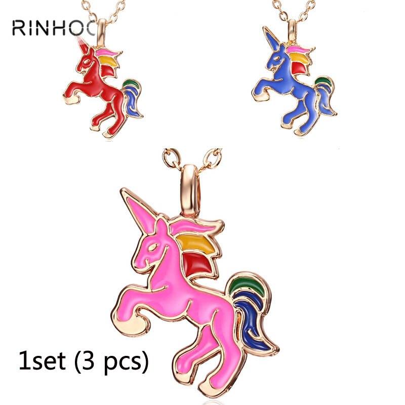 Цепочка с конем Jewelry 1 комплект для девочек Для детей Эмаль мультфильм лошадь jewelry Для женщин подвеска с фигуркой животного Единорог Вечерние
