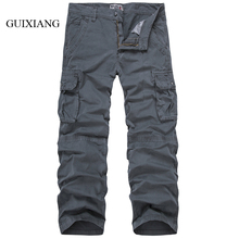 2017 new seasons type males's Cargo Pants vogue informal free cotton stable pockets giant dimension males denims trousers dimension 29-38