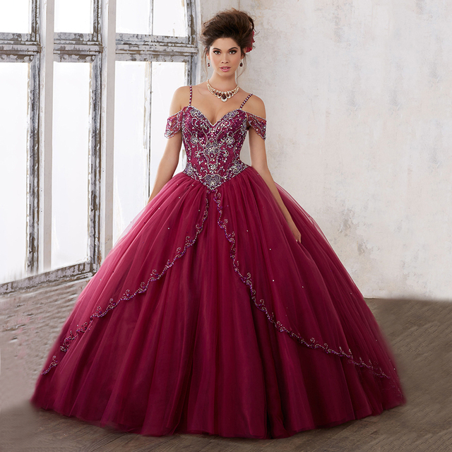 Burgundy Quinceanera Dresses with Straps