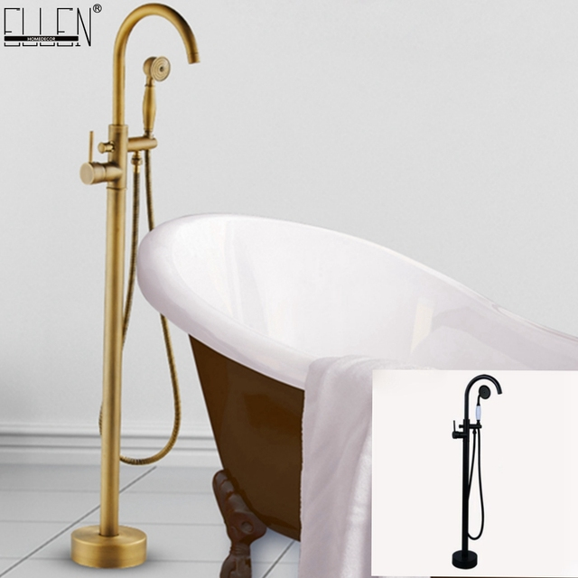 Antique Black Bronze Floor Stand Bathtub Faucets with Hand Shower Floor Standing Bath Faucet Single Handle Mixer Tap ELS2006