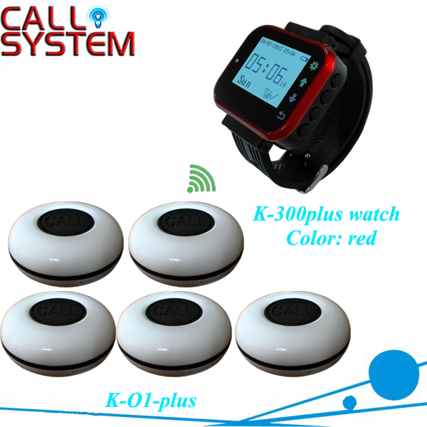 Restaurant Equipment Remote wireless paging system 5 bells with 1 wrist watch CE passed restaurant wireless table bell system ce passed restaurant made in china good supplier 433 92mhz 2 display 45 call button