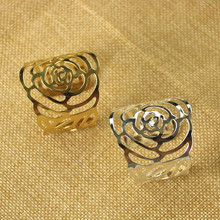 12PCS metal napkin ring model room hotel restaurant gold silver mouth cloth hotel supplies napkin ring