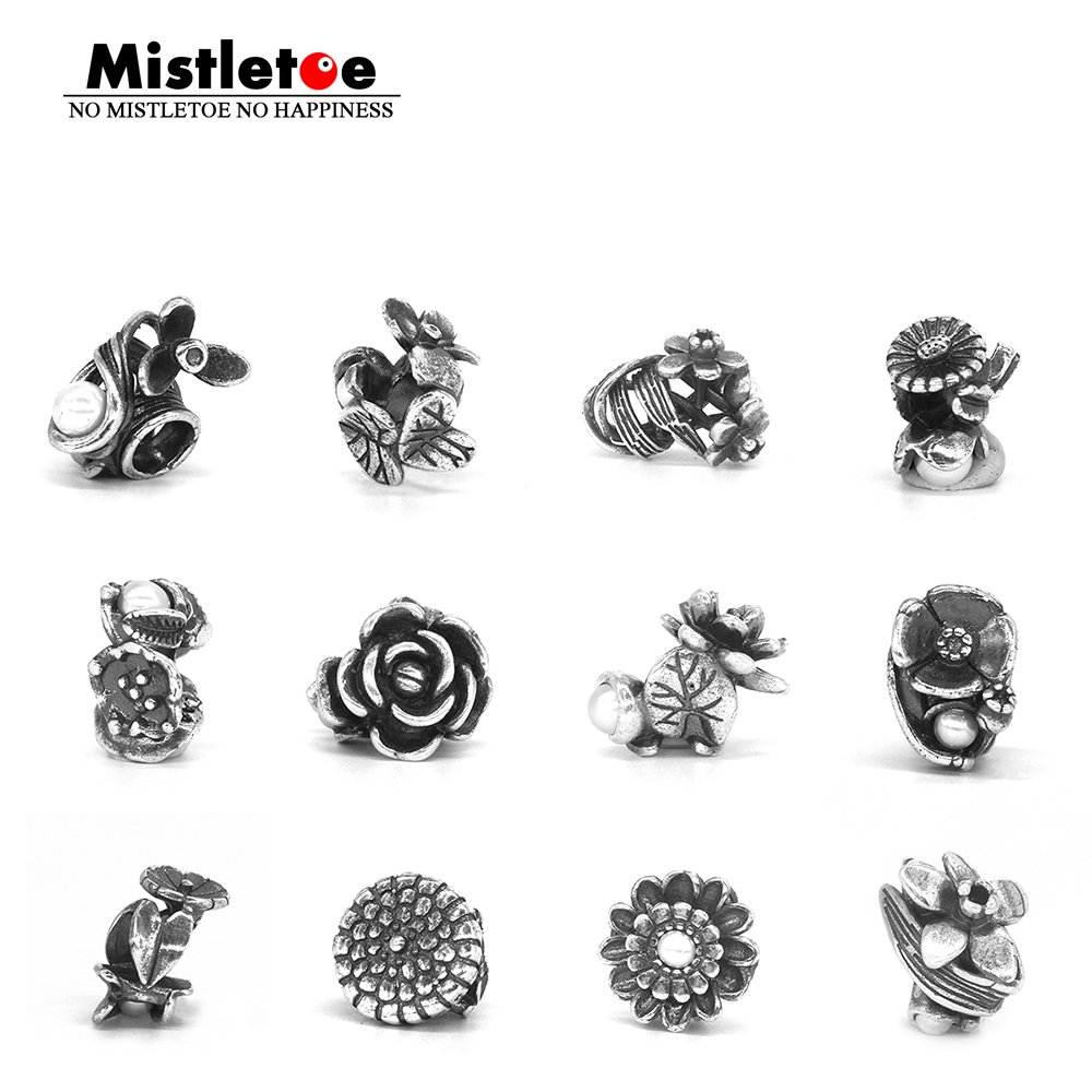 Mistletoe Jewelry 925 Sterling Silver 12 Month Birthday Flowers With White Pearl Charm Bead Fit European Troll 3.0mm Bracelet(China)