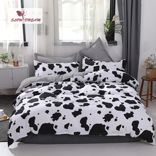 SlowDream Cow Printing Bedding Set Geometry Flat Sheet Duvet Cover Set Double Queen King Size Bedding Set Bedspread Linens Decor bedding set double tango 684 50