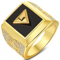 Лидер продаж, натуральный оникс, 18kt Gold Filled, превосходное новое! Золотое мужское кольцо «роторный клуб»