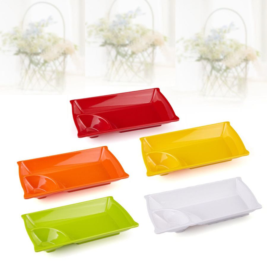 1pcs 9 inch candy color melamine two grid snack tray sub grid plastic plate student - Color Tray