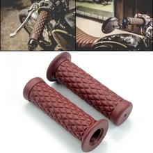 Motorcycle 7/8'' Retro Rubber Handlebar Hand Grip For Honda Suzuki Kawasaki Triumph Cafe Racer Bobber Custom