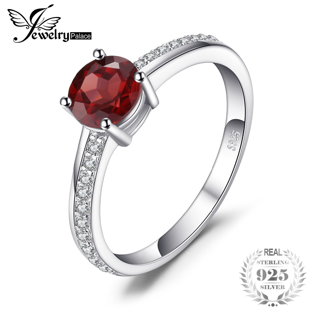 JewelryPalace Vintage 0.6ct Genuine Garnet Solitaire Ring 925 Sterling Silver QejhG