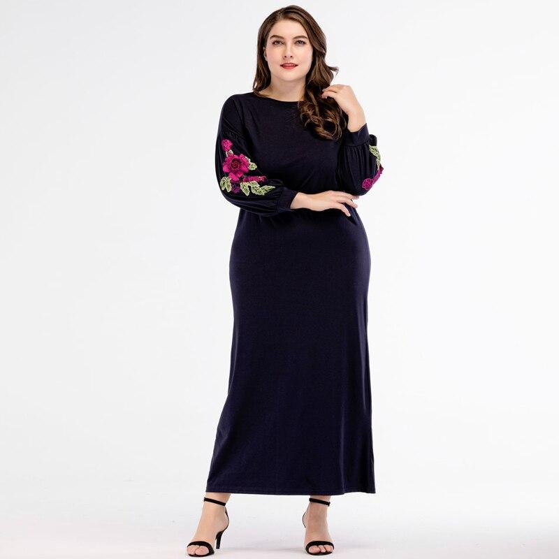 2018 Fashion New Women Appliques Maxi Long Dress Autumn Plus Size Casual Dresses Dubi Muslim Clothing Navy blue M - 3XL 4XL 1