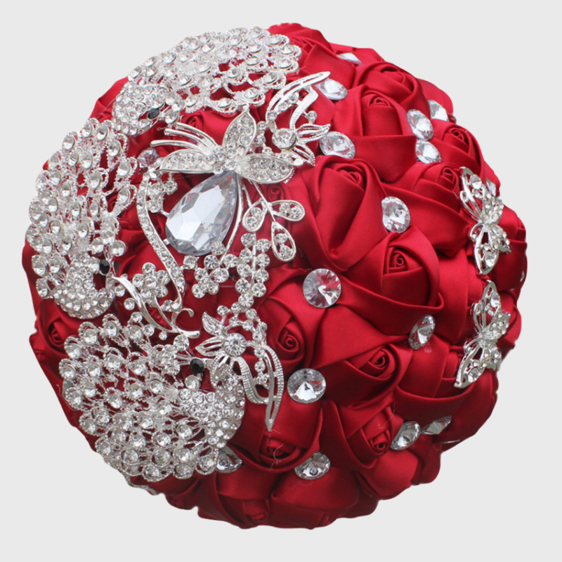 2018 Luxury Wedding Flower Bouquets Bridal Bridesmaid Bouquet Home Decorative Rose Crystal Brooch Bride Hand Holding Flowers