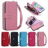 Screen Protector 2 In 1 Detachable Magnetic Zipper Leather Case Wallet Bag Pouch Flip Case Cover