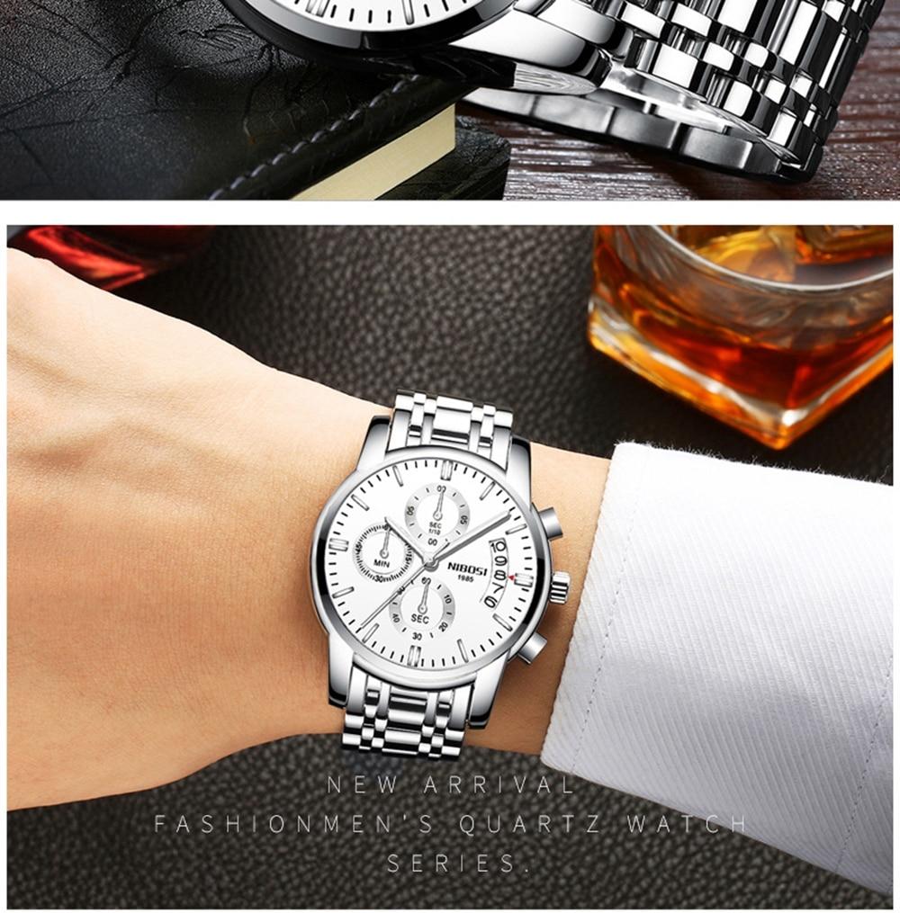 NIBOSI Mens Watches Top Brand Luxury Premium Luxury Fashion Luminous Waterproof Watch High-end Calfskin Pure Steel Strap Blue    (17)