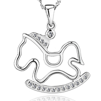 New Arrival Wholesale Jewelry 925 Sterling Silver Plated With Crystal Horse Necklaces Pendants Limited Edition Jewelry