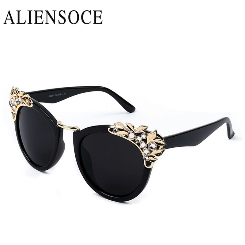 2017 Women Luxury Brand Sunglasses Jewelry Flower Rhinestone Decoration Sun glasses Vintage Shades Eyewear font b
