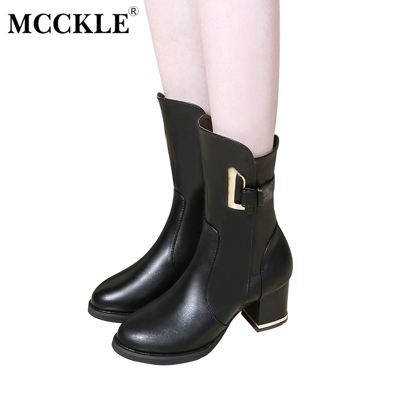 MCCKLE Female Metal Buckle Slip On Zip Chunky Heel Comfortable Platform Ankle Boots 2017 Women's Fashion Autumn Black Shoes mcckle women high heels ankle boots female buckle slip on suede shoes woman platform spring autumn casual shoes black size 35 39