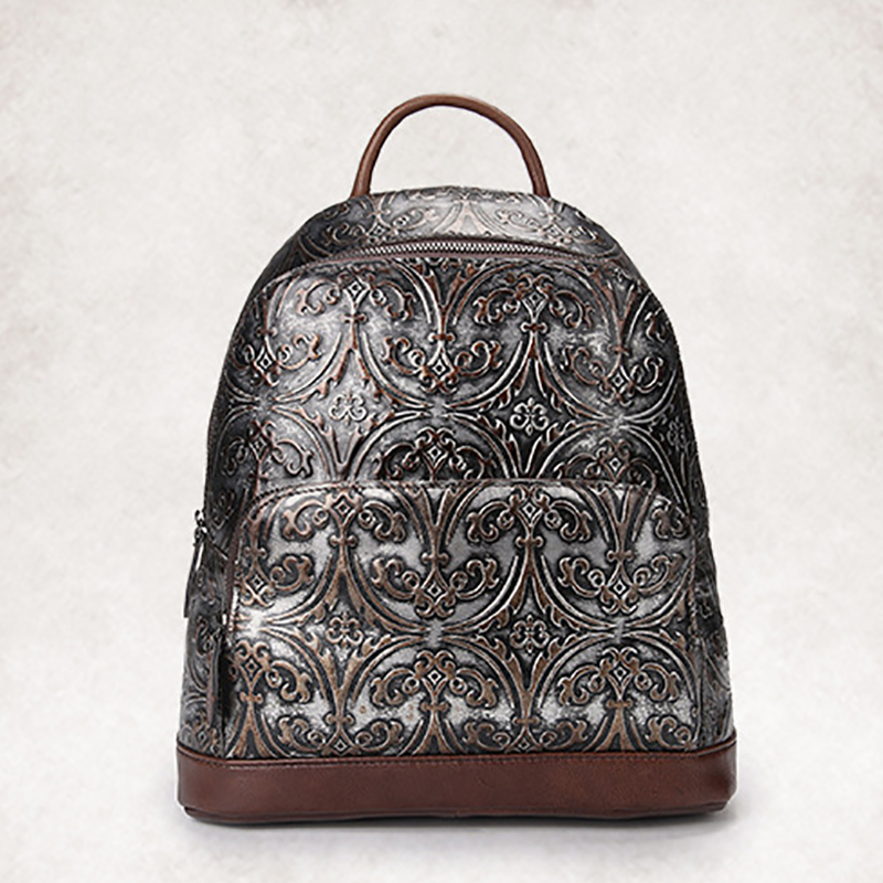 Fashion font b Women b font Genuine Cowhide Leather Rucksack Luxury Embossed Leather Knapsack Book Bag
