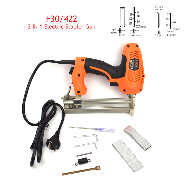 Framing Tacker Electric Stapler Gun 2 In 1 Brad Nails And Staple Electric Nails Gun With 600pcs Nails Electric Power Tools цена