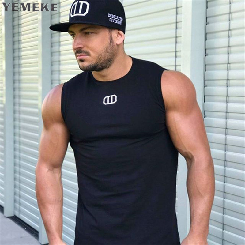2018 Men   Tank     Top   New Brand Cotton High Quality Undershirt Bodybuilding Singlet Fitness Sleeveless Vest Men   Tank     Tops