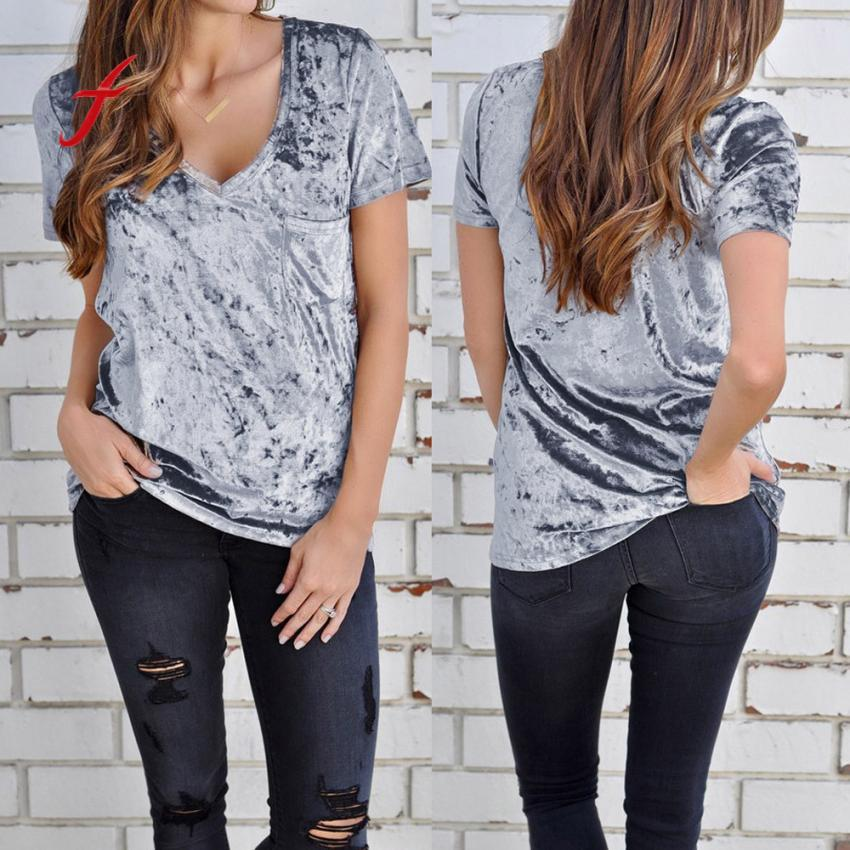 Women Short Sleeve V Neck Tops Ladies Female Gold Velvet Tee Shirt Pocket T-shirt Girls Solid Clothes Pullover