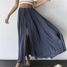 Шифоновая Женская Однотонная юбка в стиле бохо, длинная юбка макси, пляжная юбка, сарафан, юбки, синие, белые повседневные юбки, новая одежда