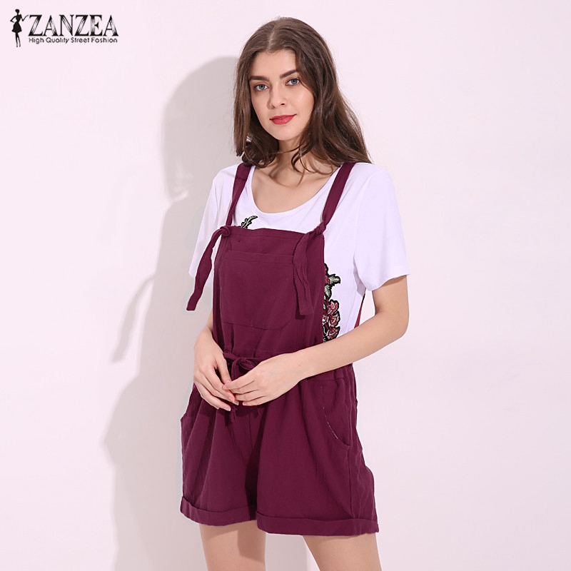 ZANZEA 2020 New Summer Rompers Womens Jumpsuits Casual Pockets Loose Short Playsuits Solid Strap Overalls Plus Size S-5XL