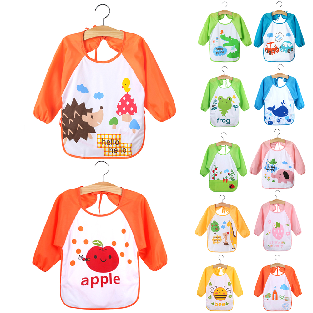 Newborn Baby Feeding Apron Toddler Long Sleeve Art Smock Bib TPU +Waterproof Cloth Apron Unisex Cartoon Animals Kids Bib cartoon lion pattern waterproof bib green yellow