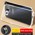S7 S6 Edge Clear Transparent Case For Samsung Galaxy S7 EDGE S6 Edge Plus Note 5 Crystal Soft TPU Slim Cover Case With Dust Plug