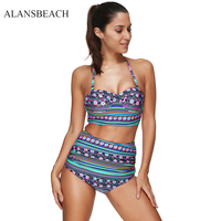 ALANSBEACH High Waist Bikini Sets Bandeau Swimsuits Sports Bathing Suits Print Maillot Plus Size Swimmer For