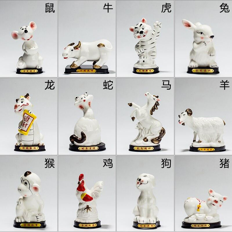 Animal du zodiaque est décoré avec céramique rat ox et tigre lapin serpent Chevaux moutons singe De Poulet et chien attirer la richesse porc