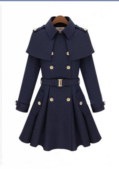 Новое зимнее корейское модное двубортное Женское шерстяное пальто в британском стиле 2 цвета - Цвет: navy blue