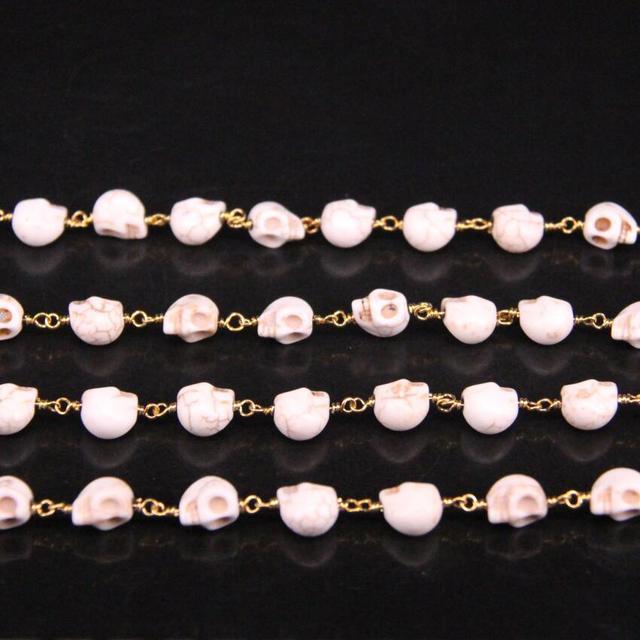 Размер 8х10 мм белая цепь в виде розари круглые камни золотого
