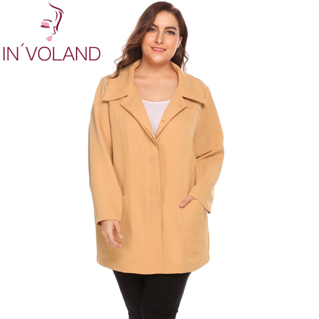 IN'VOLAND Women   Trench   Coat Plus Size XL-5XL 2018 New Spring Autumn Long Sleeve Large Single-Breasted Blazer Suit Big Size