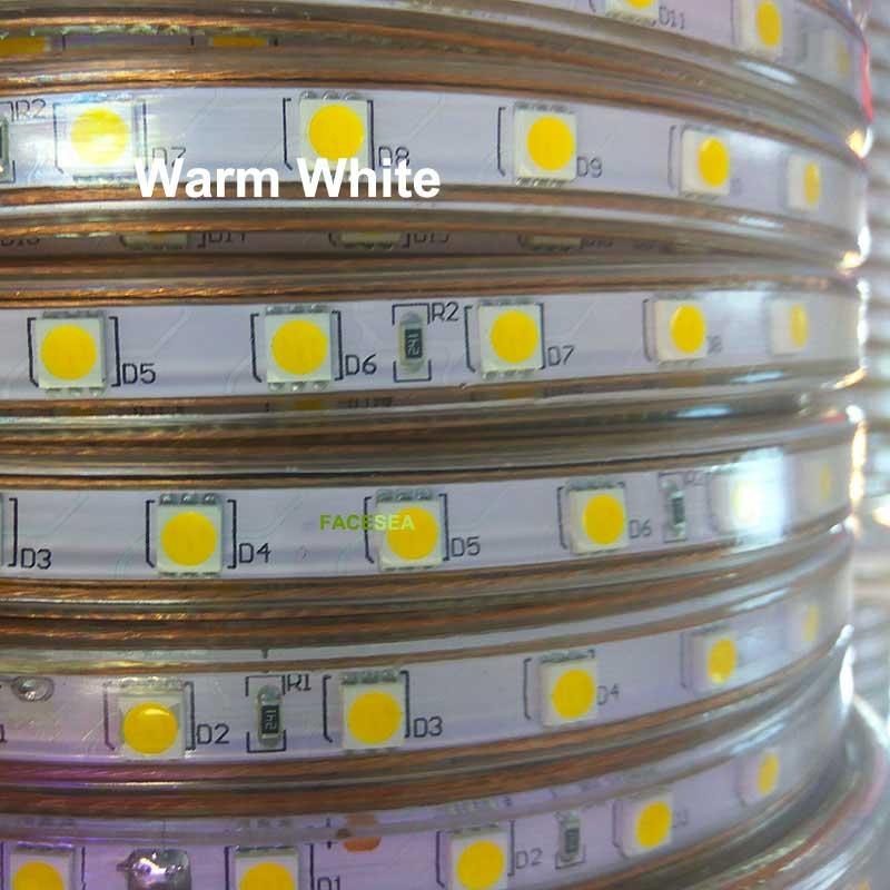 100 м Светодиодная лента гибкий свет SMD 5050 AC 220 V Высокая яркость 60 светодиодов/м водонепроницаемая лента тесьма со светодиодами + ЕС Вилка пита... - 3