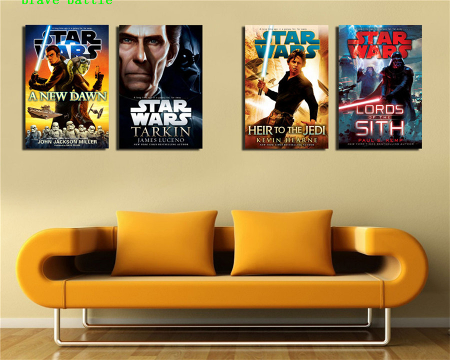 Novels Star Wars 4 Pieces Canvas Painting Print Living Room Home Decor Modern Wall Art Oil Painting Poster image