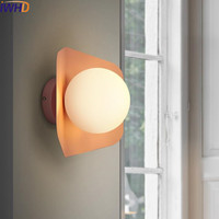 IWHD Железный современный настенный светильник LED модный цвет Настенные светильники Освещение для помещений креативное стекло шар бра свети...