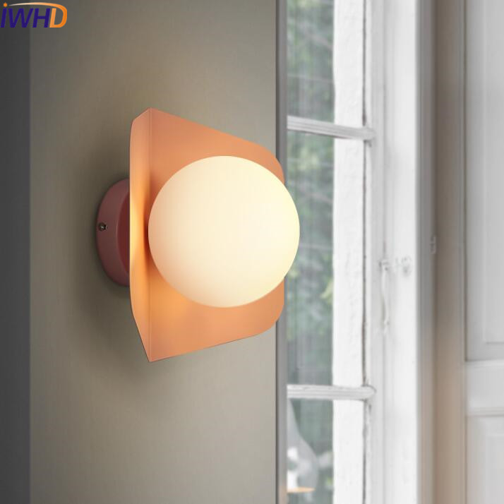 IWHD Iron Modern Wall Lamp LED Fashion Color Wall Light Fixtures Indoor Lighting Creative Glass Ball Sconce Luminaire Arandela modern led bathroom light stainless steel led mirror lamp dresser cabinet waterproof sconce indoor home wall lighting fixtures