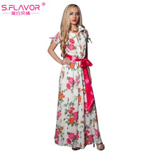 S.FLAVOR Women Short Sleeve Floral Printed Long Dress Summer Fashion Shirt Style Turn-down Collar Party Vestidos Women Sundress(China)