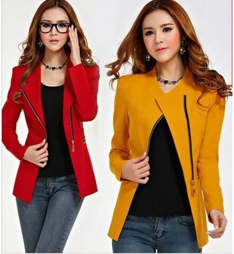 Women Long Sleeve Zipper Suit Coat POLO Neck Solid Casual Suit Jacket Blazer Top