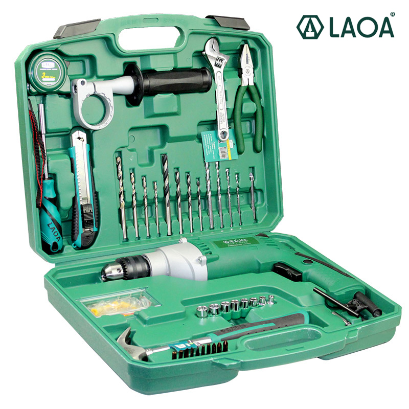 LAOA Electric Tools 810W Household Multifunction Electric Impact Drills Set With Spanner Pliers Socket Hammer Screwdriver Bits wlxy wl 6869 30w multifunction mini electronic drills set silver
