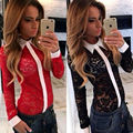 Free shipping new autumn and winter 2016 explosion models sexy black and red lace openwork stitching shirt female personality
