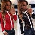 S-XL женщин Поло лето лоскутная кружева Blusas с длинным рукавом Рубашки Поло с воротником женщины топы рубашка женщины цветочный дизайн