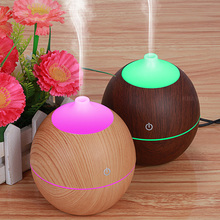 Night lamp with diffuser 130ml USB wood Air Humidifier with Wood Grain 7 Color Changing LED Lights for home baby room gift