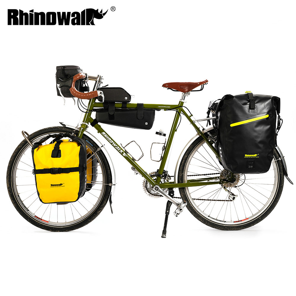 Rhinowalk Long Trip Bicycle Bag Large Capacity Waterproof Bicycle Luggage Travel Bags Handlebar Bag Front Frame Bag Bike Pannier