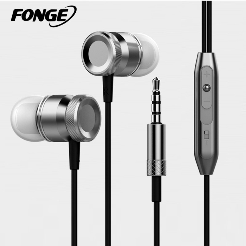Fonge New Metal Headphone Super Auriculares Control de volumen de graves con auriculares de micrófono para todos los teléfonos móviles Mp3 PC 3.5mm