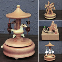 European Style Wood Carousel Eiffel Tower Ferris Wheel Building Model Music Box Creative Artware Birthday Gift L882